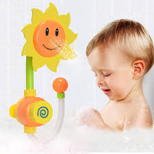 sunflower baby bath toys children spray water shower faucet manual sprinkler bathroom toys random color newborn baby doll toy bath set box sunflower baby