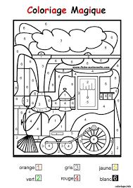 Coloriage Magique Train Facile Maternelle Dessin