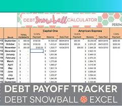 Debt Payoff Spreadsheet Debt Snowball Excel Credit Card