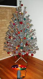 Aluminum Christmas tree with color wheel.