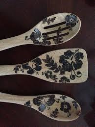 Wood Burning Designs For Walking Sticks Wood Burned Decorated Spoons Hawaiian Flower Design Wood