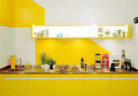 Kitchen Design Tiles Walls Bright Kitchen Design With Yellow Color And White Kitchen Wall