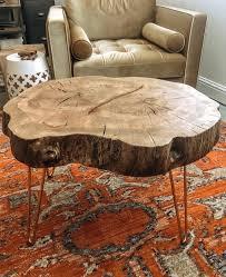 oak stump coffee table large
