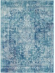 prisha aqua blue medallion border rug