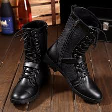 tangnest autumn punk martin boots men fashion pu leather lace up motorcycle boots black vintage high top