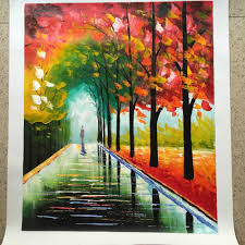 new 100 hand painted landscape city bench night modern oil canvas painting for living room wall art walking in the rain 50 60cm in painting calligraphy