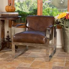 brosnan vine top grain brown leather arm chair by christopher knight home