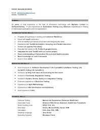 Qtp Sample Resume For Software Testers Fresh Download Sample Resume