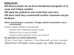 bellwork sw view frankenstein and compare contrast the novel  bellwork 2 sw discuss proper set up of an introduction paragraph of an essay