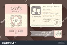 Vintage Visa Passport Wedding Invitation Card Stock Vector ...