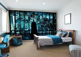 minimalist teenage boy bedroom ideas with batman mural wallpaper
