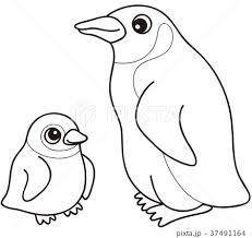 オウサマペンギン親子 ぬりえのイラスト素材 37491164 Pixta