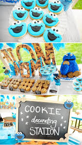 Karas Party Ideas Chic Girl Blue Diy Cookie Monster Birthday Party