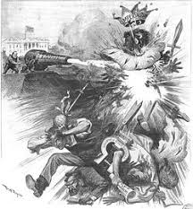 american anti imperialist league president mckinley fires a cannon into an imperialism effigy in this cartoon by w a rogers in harper s weekly of 22 1900