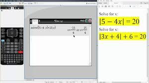 alg2 solving absolute value equations ti nspire cx cas
