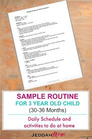 Sample Routine For A 3 Year Old Child Islamic Studies 3