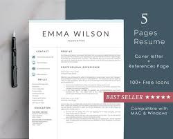 Resume Template 5 Pages Minimalist Cv Template Cover Letter Ms Word Instant Download Clean Resume Elegant Resume Professional Cv