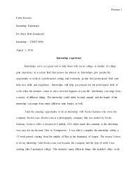 internship experience paper