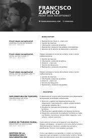 Recepcionista Ejemplo De Curriculum Base De Datos De Visualcv