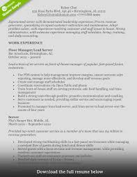 house manager resumes how to write a perfect food service resume examples included