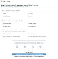 quiz worksheet the adventures of tom sawyer com print the adventures of tom sawyer by mark twain summary characters analysis worksheet