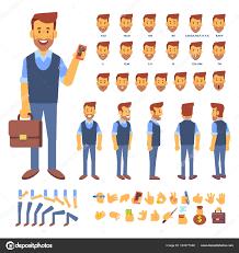 サイド 背面アニメーション文字 店長の男性キャラクターの作成さまざまな