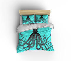 octopus bedding turquoise duvet cover blue nautical bedding