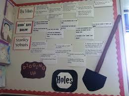 holes by louis sachar bulletin board summarizing the three story lines