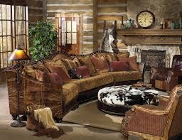 ... Rustic Living Room Furniture With Clock And Lamp And Cushion And Carpet  And Wooden ...