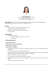 Examples Of Resumes Resume Template Objective Bartender