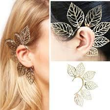 B-F <b>1 Pc</b> Women Earrings <b>Vintage Punk</b> Rock Gold Plated Leaves ...