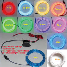 popular el wire colors buy cheap el wire colors lots from el dc12v powered 2m led light 10 colors el wire tube rope flexible neon cold light car