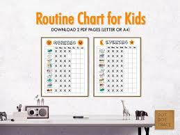 Kids Routine Chart Printable Daily Routine Chart For Kids Kids Routine Charts Kids To Do List Morning And Evening Checklist For Kids Chore Chart For Children