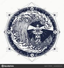 татуировка шторм тату векторная графика маяк и шторм тату маяк и