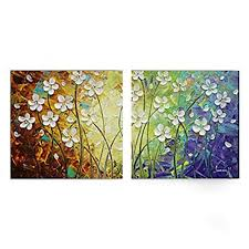 amoy art hand painted modern canvas wall art floral oil paintings with stretched and framed set of 2 panels ready to hang on canvas floral wall art with 2 piece canvas floral wall art amazon