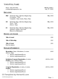 Resume Outline Example Impressive Free CV Template Curriculum Vitae Template And CV Example