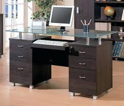 modern glass office desk. Medium Image For Modern Glass Home Office Desk Top Double Pedestal V