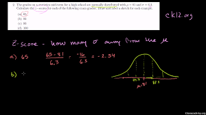 Z Score Chart Calculator Normal Distribution Problem Z Scores From Ck12 Org Video