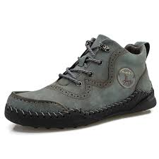 <b>IZZUMI Men</b> Outdoor Leather <b>Shoes Solid</b> Color Round Toe Lace ...
