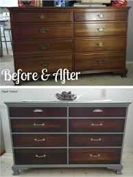 Painting Bedroom Furniture Before And After Old Dresser Makeover With Gray Paint Dark Walnut Stain And New