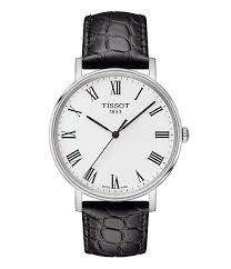 tissot everytime men s black roman numeral leather strap watch