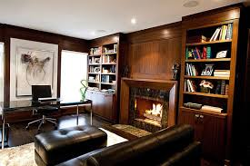 Office:Elegant Home Office Study Room With Fireplace And Wood Bookshelves  And Glass Desk Also