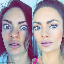 the wonders of make up fitness model emily skye posted a make up here is a before during after