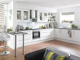White Kitchen Wooden Floor Fantastic White Kitchen Design With Wooden Floor And Smart Cabinet