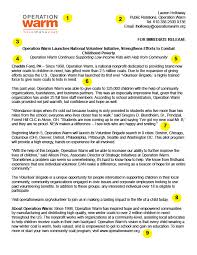 Business Press Release Template Press Release Template Operation Warm