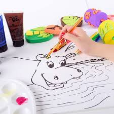 montmartre children s painting set with line drawing finger paint brush art supplies brush toolbox jungle painting