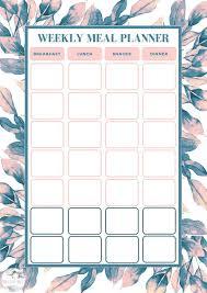 Weekly Meal Plan Sheet Free Weekly Meal Planning Template Bake Play Smile