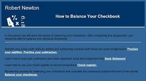 How To Balance Your Checkbook Curriki