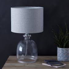 recycled glass lighting. Glass Table Lamp With A Mottled Bottomless Base And Grey Herringbone Drum Lampshade Recycled Lighting