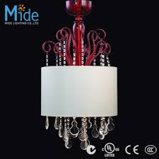 maria theresa crystal chandelier with fabric shade in red glass